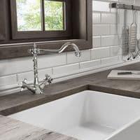 Jupiter Classic Style Traditional Mono Kitchen Sink Mixer Tap  Crosshead Handles KTA009